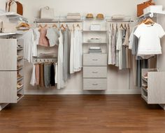 Everything you need to install a closet in one box! Shelving is adjustable both vertically and horizontally, giving you the freedom to design a storage solution that fits your needs. Closet Works, Time To Tidy Up, Faux Shiplap, Closet System, Organizing Your Home, Lowes Home Improvements, Closet Organization, Home Improvement Projects, Storage Solutions