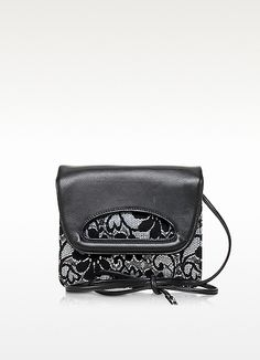 Francesco Biasia Fix You Black Leather Crossbody Bag w/Lace Detail