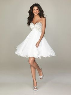 A-line Mini/Short White Chiffon Sweetheart Beaded Wholesale Cocktail/Party Dress Homecoming Dresses - Special Occasion Dresses By AndyBridal Wedding Dresses Dresses Short, Nice Dresses, Girls Dresses, Formal Dresses, Dresses 2014, Formal Prom, Casual Dresses, Party Gowns, Wedding Party Dresses