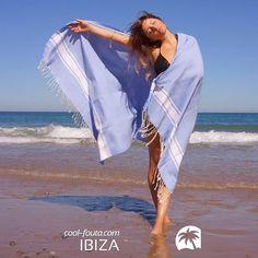 #Serenity #Classic #Fouta by Cool-Fouta | White bands on Serenity Blue solid color #plainweave #artisan #hammam #towel by Cool-Fouta, available at www.foutadeibiza.es | Beach style & Home décor | Photo by @oniric_swimwear https://es.pinterest.com/onirics/ #pantone2016 #sarong #coolfoutaibiza #coolfouta #ibiza #beach #pantone #summer #toalla #verano #playa #pareo #serenityblue #azulserenidad #ibizatrendy