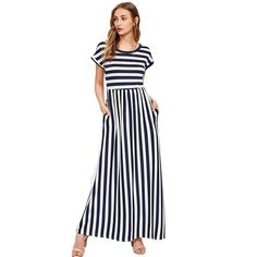 fff48cd49 Maxi Dress O Neck Slim Women Casual A Line Dresses Navy Short Sleeve Empire  Beach Dress