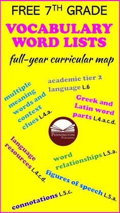 This FREE Grade 7 vocabulary word list includes high frequency Tier 2 words to teach the CCSS L.6.0 vocabulary standards. Plus, multiple meaning words and context clues (L.4.a.); Greek and Latin word parts (L.4.a.c.d.); Language Resources (L.4.c.d.); word relationships (L.5.a.); figures of speech (L.5.a.); and connotations (L.5.c.). Teaching Reading Strategies, Vocabulary Strategies, Reading Assessment, Reading Intervention, Teaching Methods, Common Core Vocabulary, Teaching Vocabulary, Vocabulary List, Vocabulary Words