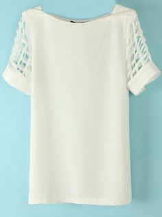 To find out about the White Hollow Short Sleeve Chiffon Blouse at SHEIN, part of our latest Blouses ready to shop online today! Shirt Blouses, T Shirt, Couture Tops, Blazers, Blouse Styles, Dress To Impress, Chiffon Tops, Blouses For Women, Work Wear
