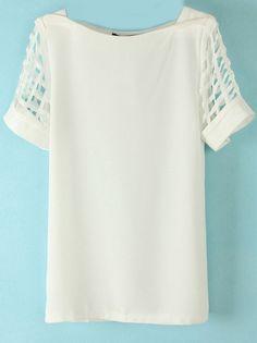 White Hollow Short Sleeve Chiffon Blouse