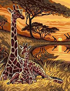 MailingArt Paint by Number Kits Canvas Painting - Colorful Life (Giraffe) African Artwork, African Art Paintings, Animal Paintings, Giraffe Pictures, Art Pictures, Images D'art, Afrique Art, Giraffe Art, Paint By Number Kits