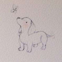 Puppy collection - Dachshund Drawing Tips puppy drawing Art Drawings Sketches, Easy Drawings, Cute Animal Drawings, Puppy Drawings, Cute Animals To Draw, Animal Sketches Easy, Dibujos Cute, Dog Tattoos, Portrait Tattoos