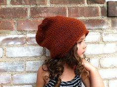 Alpaca Knit Beanie / Chestnut Knitted Slouchy Hat by danielastange