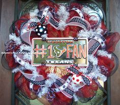 15% off SALE Houston Texans Football NFL Deco Mesh Wreath. $75.00, via Etsy.