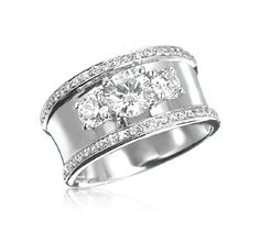 3-Stone Ring with Wide Band - If I would ever get a new one!! LOVE THIS!!! let Sam know people!!! ;)