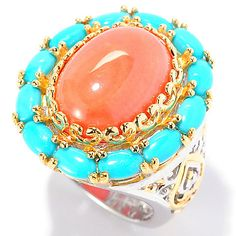 145-309- Gems en Vogue 16 x 12mm Bamboo Coral & Sleeping Beauty Turquoise Ring