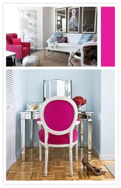 I WANT A MIRRORED VANITY Modern Baroque, Baroque Decor, White Roses, Pink White, Hot Pink, Perfume Storage, Color Rosa, New Room, Mirrored Vanity