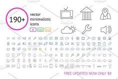 190+ Vector Outline Icons by voin_Sveta on @creativemarket