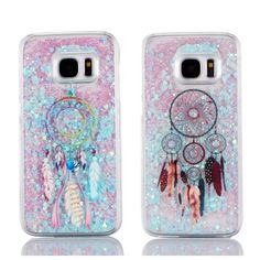 2016 Hot! Fashion Colorful Feather Dream Catcher Glitter Dynamic Liquid Quicksand Phone Case Cover For Samsung Galaxy S7/S7edge