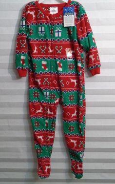 38069d46c6 Joe Boxer Christmas Wrap Print Unisex Baby Footed Sleeper Size 2T (u)   JoeBoxer