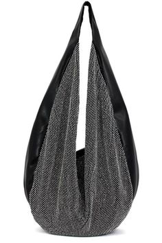 Austrian Crystal Rhinestone Mesh Accent Hobo Handbag - H:7.5 L:13.0 W:7.0 - Gorgeous Crystal Encrusted Mesh Panel - MATERIAL: PU Faux Leather - 1 Compartment And 1 Zipper Pocket - 2 Small Pouches - Zi  #hobohandbags hobo bag leather