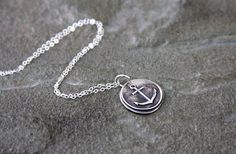 Necklace charm necklace anchor fine silver PMC by HollyMackDesigns, $48.00
