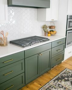 We have a thing for two-toned cabinets 🧡 The white cross backsplash paired with the white uppers is quite the combo✨ and just look at that… Two Tone Kitchen Cabinets, Green Cabinets, Kitchen Dinning, Dining Room, Fox Home, White Crosses, First Home, Backsplash, Home Kitchens