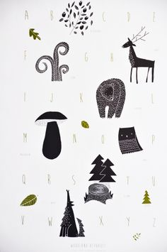 Woodland Alphabet poster by Zlesa on Etsy Tree Wallpaper, Woodland Theme, Kids Prints, Types Of Art, Print Poster, Graphic Illustration, Art Illustrations, Decoration, Character Design