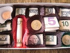 Box of Chocolate Money Gift party-ideas Creative Gifts, Cool Gifts, Best Gifts, Creative Ideas, Creative Food, Creative Christmas Gifts, Awesome Gifts, Creative Things, Craft Gifts