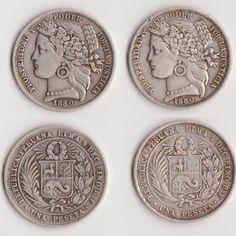 Monedas de plata 1 Peseta 1880, Perú