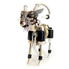 Recycled art goat robots