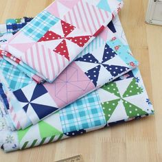 FREE SHIPPING 3pieces 150*50cm  Windmill Series cotton fabric patchwork fabric Bundle quilting tilda fabric for sewing 100%cloth
