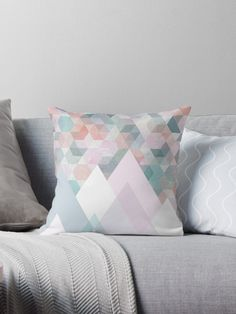 Buy \'Pastel Graphic Winter Mountains on Geometry #abstractart #winterart\' by Dominiquevari on Throw Pillow | Redbubble . |    #homedecor #pillows #pillow #homestyling #bedroomideas #giftidea #buyart #abstract #winterart #geometric #pattern #pastels #pastellove #tranquil #beautiful #mounts #prismes #mountains #pink #blue #grey #scandystyle #minimal #homedecorideas #dominiquevari #redbubble