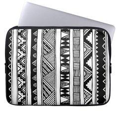 Trendy Black White Aztec Tribal Geometric Pattern Laptop Computer Sleeve