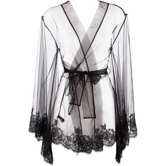 I.D. Sarrieri Five Drops of Perfume Robe (745 CAD) ❤ liked on Polyvore featuring intimates, robes, lingerie, underwear, tops, robe lingerie, lace robe, sash belt, bath robes and dressing gown