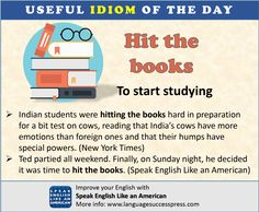 If it's time to start studying for a test or something else, it's time to hit the books. Learning English Online, English Idioms, American English, Learn English, Esl, Studying, Vocabulary, Improve Yourself, Reading