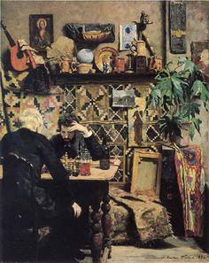 Gustav Wentzel (Norwegian, 1859-1927), Sjakkspillere [Chess players], 1886.