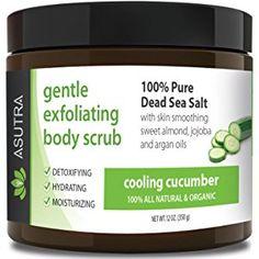 "ORGANIC Exfoliating Body Scrub - ""COOLING CUCUMBER"" - 100% Pure Dead Sea Salt Scrub / Ultra Hydrating & Moisturizing with SKIN SMOOTHING Jojoba, Sweet Almond & Argan Oils - 12oz"