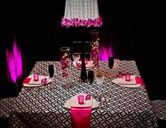Black & White Linen. Lampshade with Fuschia Orchids