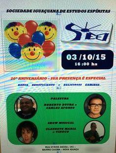 Sociedade Iguaçuana de Estudos Espíritas Convida para o seu 20º Aniversário - Nova Iguaçu - RJ - http://www.agendaespiritabrasil.com.br/2015/10/01/sociedade-iguacuana-de-estudos-espiritas-convida-para-o-seu-20o-aniversario-nova-iguacu-rj/