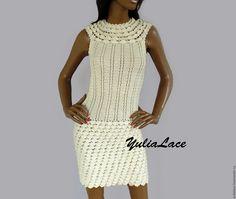 Купить Вязаное платье - бежевый, молочный, платье, платье летнее, платье коктейльное, платье на заказ