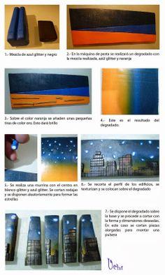 Tutorial Skiline de noche - Arcilla polimérica, polymer clay | UCHI