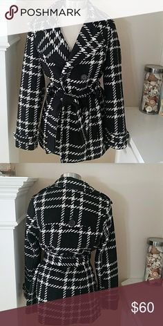 Wool Blend Black and White Coat Beautiful plaid Black and White wool blend coat.  Ties at waist for a flattering look and has 2 side pockets.  Normal light wear.  Fully lined.  Cc7 Jou Jou Jackets & Coats