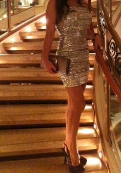 Silver sequin dress and silver clutch :-))