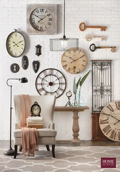 Pretty up a hallway or living room with this Home Decorators Collection Aldridge Rectangular Antique Grey Console Table. Cream Wall Clocks, Gray Console Table, Kitchen Wall Clocks, Clock Wall, Unique Wall Decor, Large Clock, Home Decor Accessories, Gallery Wall, Room Decor