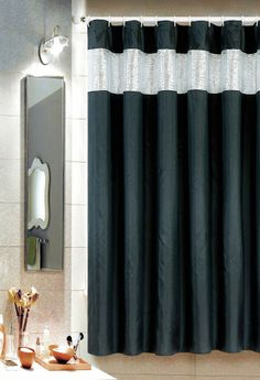 ALICE SHOWER CURTAIN WITH METALLlC EMBELLISHED TOP BLACK SILVER