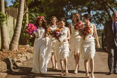 bride and bridesmaids with vibrant bouquets