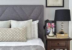 Upholstered Headboard   Shoreline Home   Inspired by West Elm's Patterned Nailhead Headboard   Made to Order