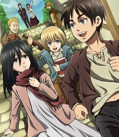 Shingeki no Kyojin, Grisha Jaeger, Eren Jaeger, Hannes (Shingeki no Kyojin), Mikasa Ackerman buaaaaaaaaaaaaa que sad 5 Anime, Anime Kawaii, I Love Anime, Anime Shows, Armin, Eren And Mikasa, Ereri, Grisha Jaeger, Desenhos Love