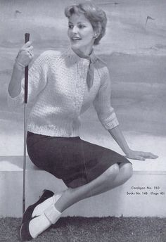 3/4 Sleeve Women's Cardigan Vintage Knitting Pattern PDF 1950s Women's Fashion. via Etsy.