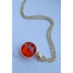 Candy Drop Stone Necklace - Garnet Red