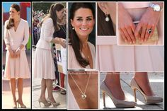 4/22/14 -- Catherine is lovely in pink Alexander McQueen while visiting the Adelaide suburb of Elizabeth. Accessories:  LK Bennett Sledge pumps, Natalie clutch, Annoushka pearl drop earrings, Cartier watch, Asprey's Woodland Collection necklace