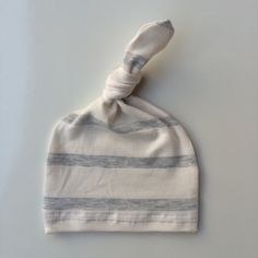 Bamboo Newborn hat, hospital hat, knot hat in white with heather gray stripe  READY TO SHIP!! by LemonJuicebrand on Etsy https://www.etsy.com/listing/239973232/bamboo-newborn-hat-hospital-hat-knot-hat