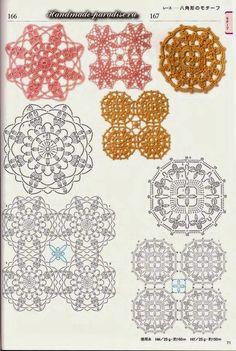 Схемы мотивов для пледа крючком. Подборка японских схем для вязания крючком пледов, покрывал, подушек, скатерти, шалей и палантинов, а также схем обвязки