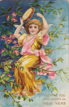 Wings of Whimsy: New Year's Music Cherub Tamburine - free for personal use
