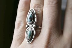 Vintage Turquoise & Silver Ring Size 5.75 Statement rings, boho style